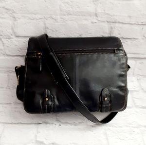 Aurielle black leather messenger bag